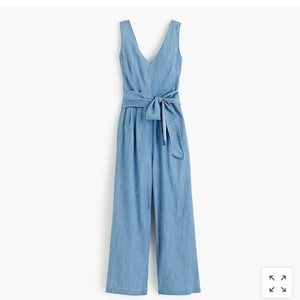 JCrew Chambray Wrap-Tie Jumpsuit - 0
